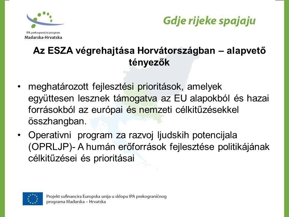 Az ESZA végrehajtása Horvátországban – alapvető tényezők •meghatározott fejlesztési prioritások, amelyek együttesen lesznek támogatva az EU alapokból