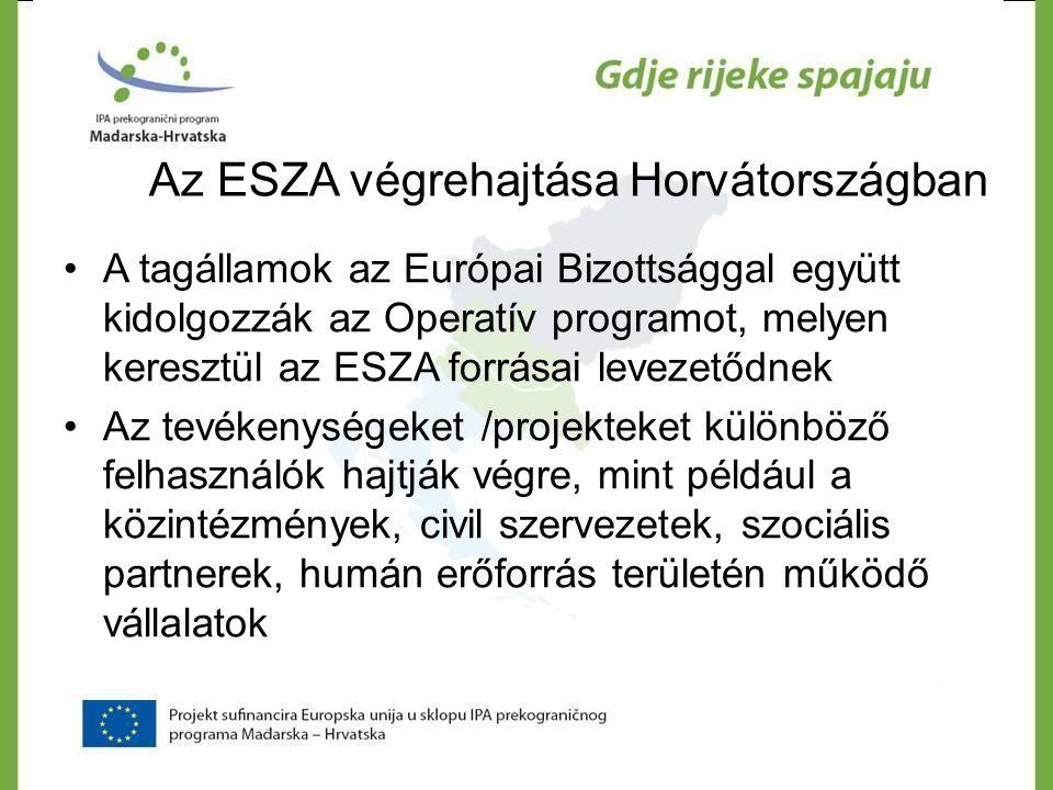 Az ESZA végrehajtása Horvátországban •A tagállamok az Európai Bizottsággal együtt kidolgozzák az Operatív programot, melyen keresztül az ESZA forrásai