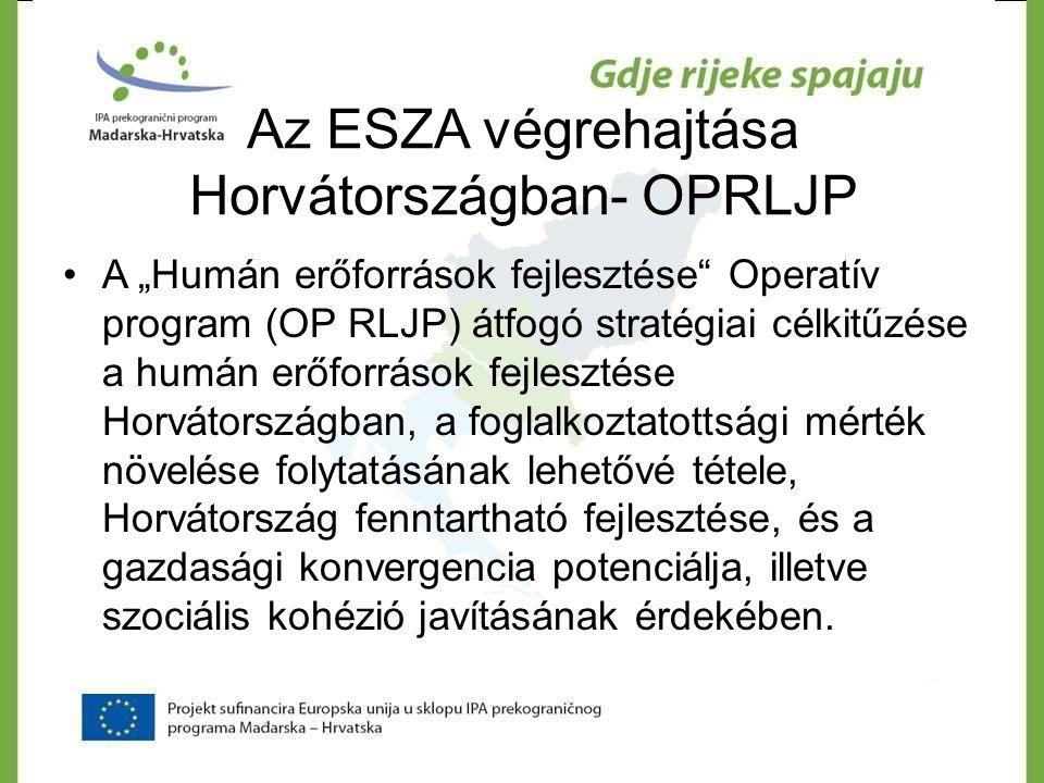"""Az ESZA végrehajtása Horvátországban- OPRLJP •A """"Humán erőforrások fejlesztése"""" Operatív program (OP RLJP) átfogó stratégiai célkitűzése a humán erőfo"""