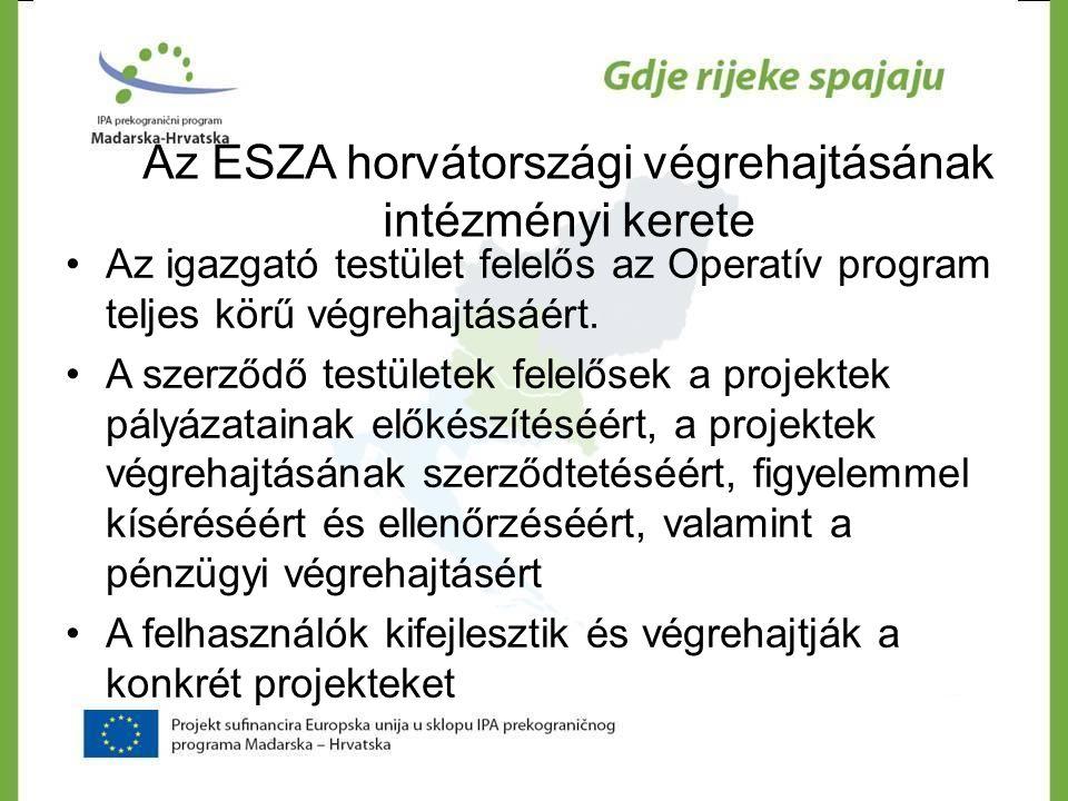 Az ESZA horvátországi végrehajtásának intézményi kerete •Az igazgató testület felelős az Operatív program teljes körű végrehajtásáért. •A szerződő tes