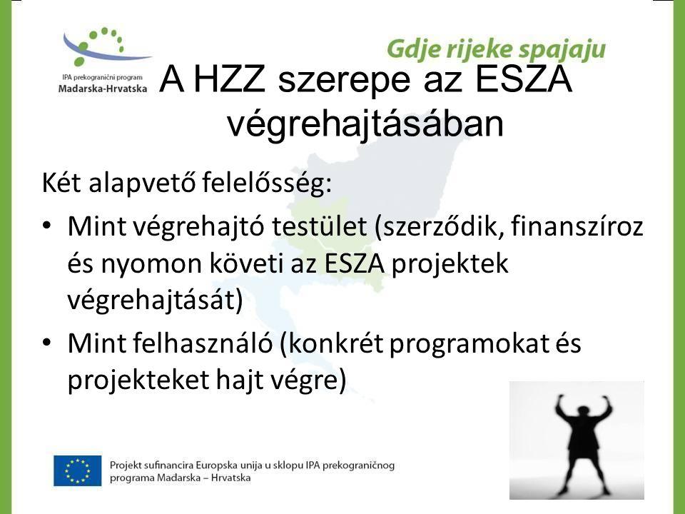 A HZZ szerepe az ESZA végrehajtásában Két alapvető felelősség: • Mint végrehajtó testület (szerződik, finanszíroz és nyomon követi az ESZA projektek v