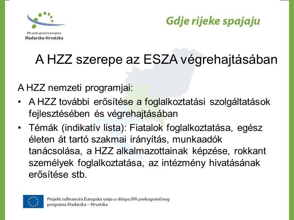 A HZZ szerepe az ESZA végrehajtásában A HZZ nemzeti programjai: •A HZZ további erősítése a foglalkoztatási szolgáltatások fejlesztésében és végrehajtá