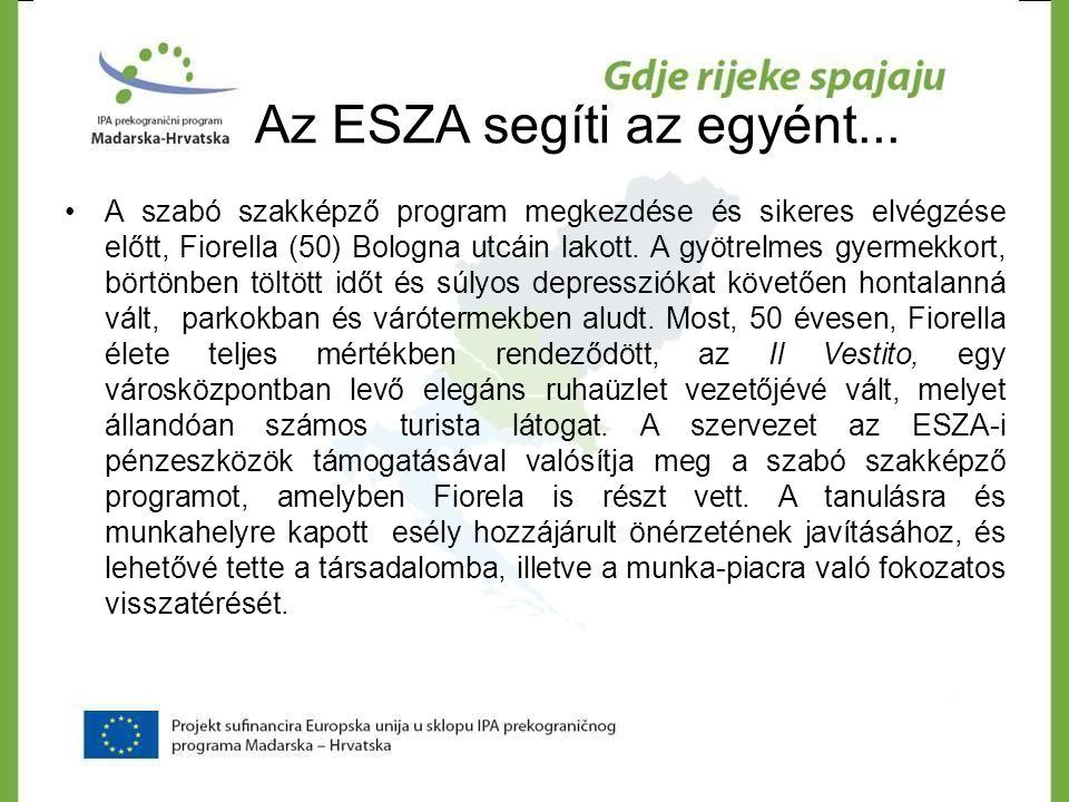 Az ESZA segíti az egyént... •A szabó szakképző program megkezdése és sikeres elvégzése előtt, Fiorella (50) Bologna utcáin lakott. A gyötrelmes gyerme