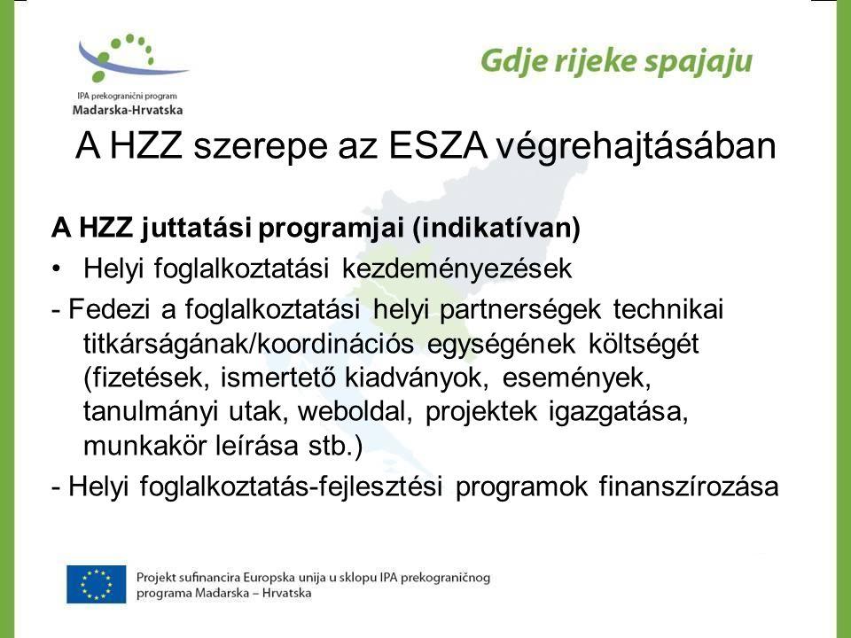 A HZZ szerepe az ESZA végrehajtásában A HZZ juttatási programjai (indikatívan) •Helyi foglalkoztatási kezdeményezések - Fedezi a foglalkoztatási helyi