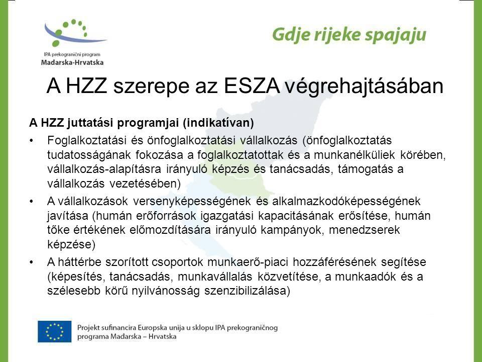 A HZZ szerepe az ESZA végrehajtásában A HZZ juttatási programjai (indikatívan) •Foglalkoztatási és önfoglalkoztatási vállalkozás (önfoglalkoztatás tud