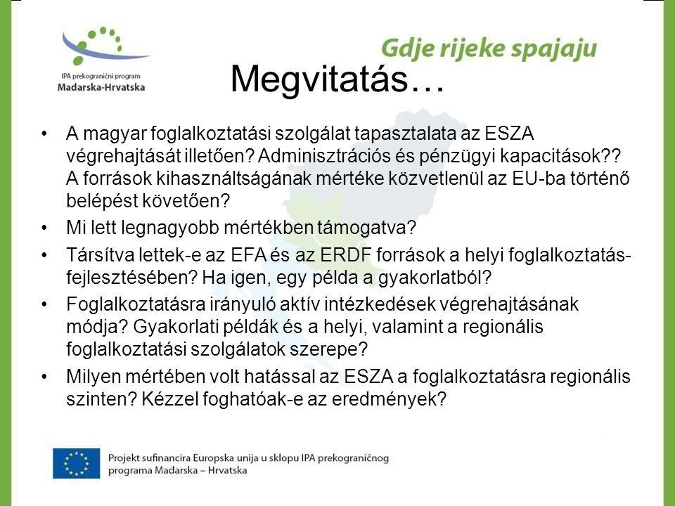 Megvitatás… •A magyar foglalkoztatási szolgálat tapasztalata az ESZA végrehajtását illetően? Adminisztrációs és pénzügyi kapacitások?? A források kiha