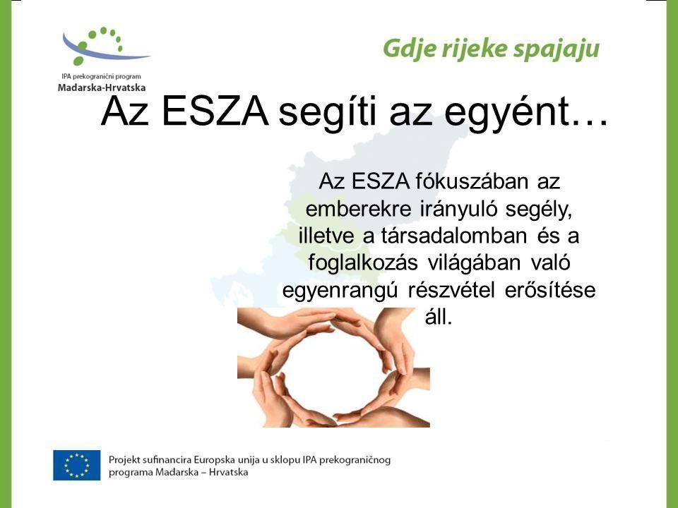 Az ESZA segíti az egyént… Az ESZA fókuszában az emberekre irányuló segély, illetve a társadalomban és a foglalkozás világában való egyenrangú részvéte