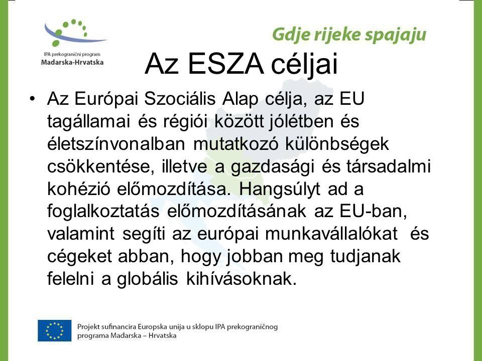 Az ESZA céljai •Az Európai Szociális Alap célja, az EU tagállamai és régiói között jólétben és életszínvonalban mutatkozó különbségek csökkentése, ill