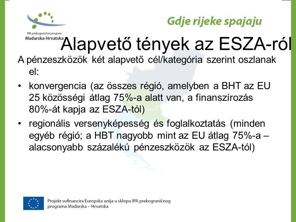 Alapvető tények az ESZA-ról A pénzeszközök két alapvető cél/kategória szerint oszlanak el: •konvergencia (az összes régió, amelyben a BHT az EU 25 köz