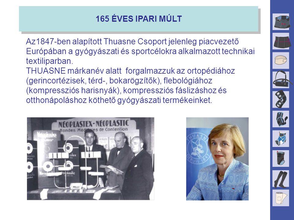 165 ÉVES IPARI MÚLT Az1847-ben alapított Thuasne Csoport jelenleg piacvezető Európában a gyógyászati és sportcélokra alkalmazott technikai textiliparban.