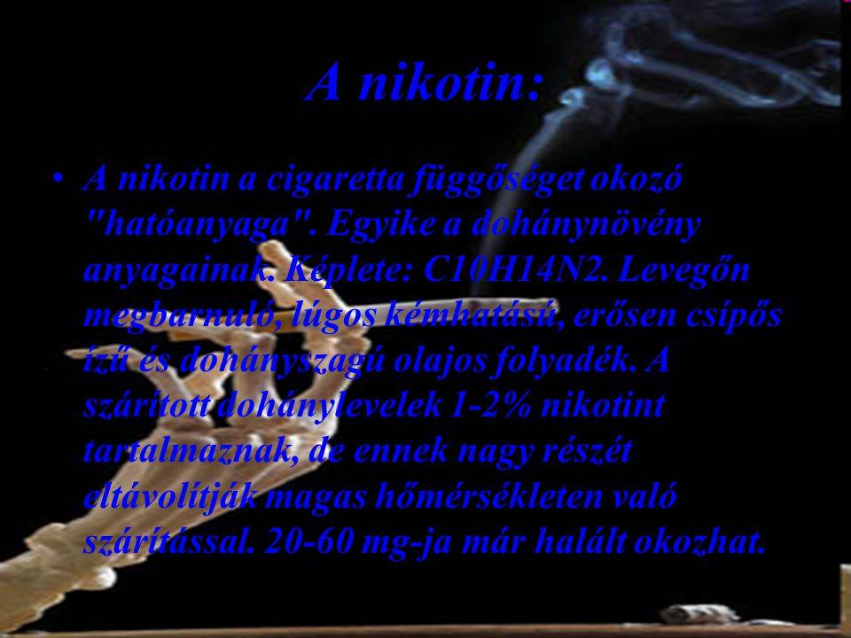 A nikotin: •A nikotin a cigaretta függőséget okozó