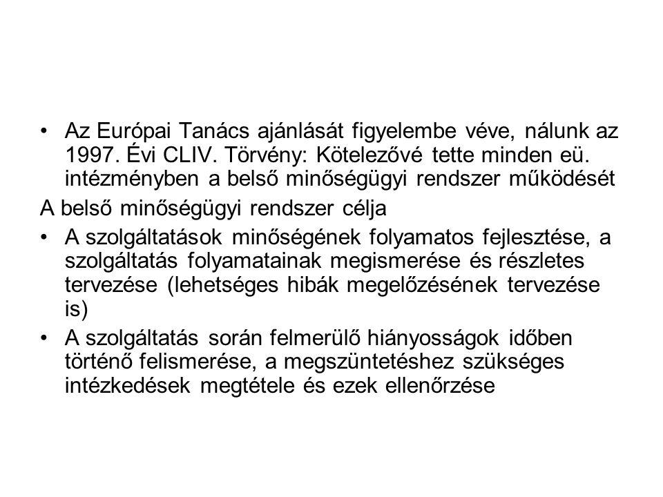 •Az Európai Tanács ajánlását figyelembe véve, nálunk az 1997.