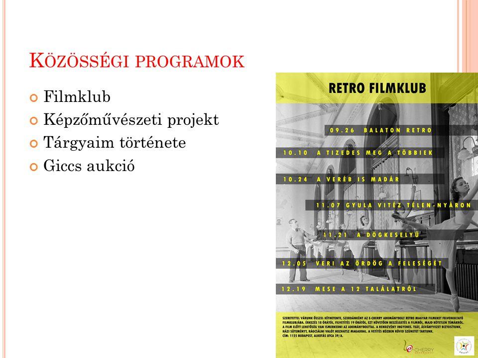 K ÖZÖSSÉGI PROGRAMOK Filmklub Képzőművészeti projekt Tárgyaim története Giccs aukció
