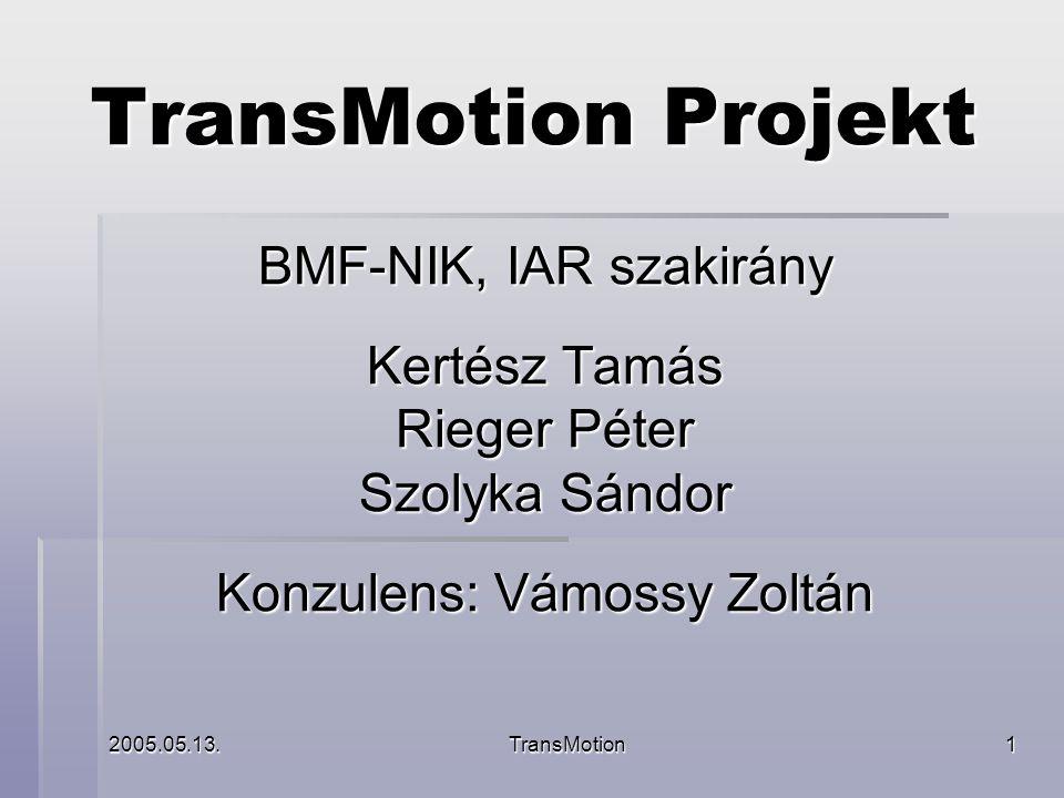 2005.05.13.TransMotion2 Bevezető a projektről ▪ Mi a projekt témája és miért.