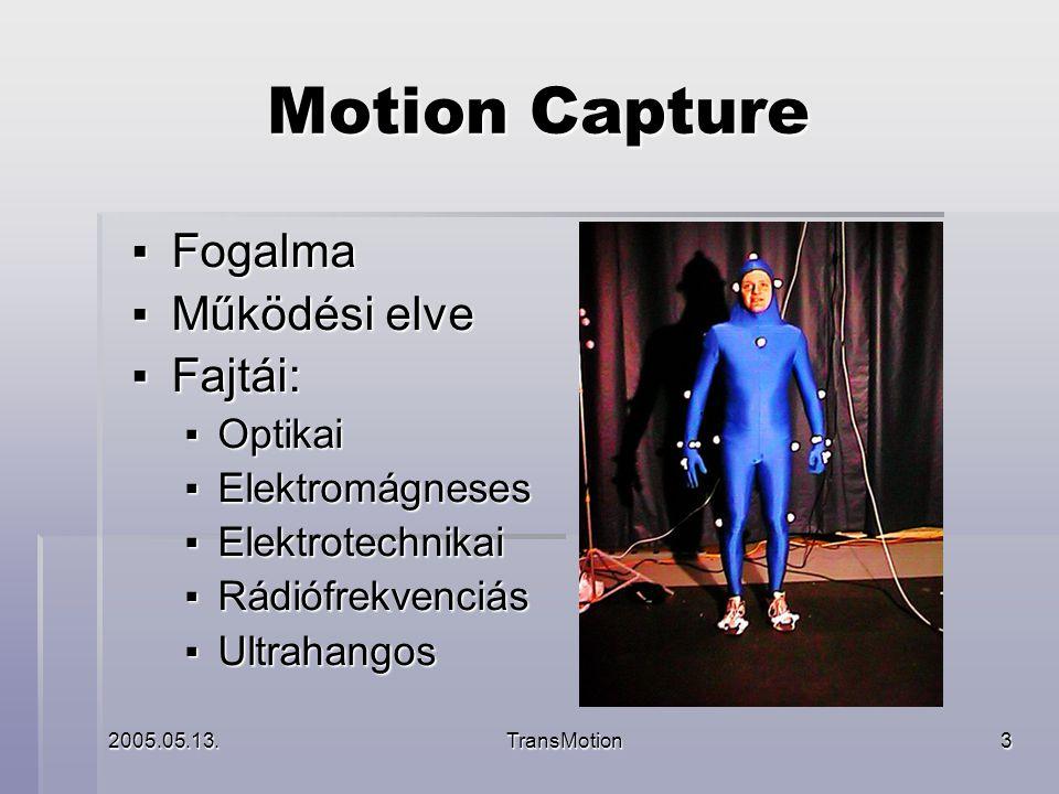 2005.05.13.TransMotion4 Motion Capture ▪ Felhasználási területei: ▪ Filmipar ▪ Játékipar ▪ Virtuális konferenciák ▪ Számítógép vezérlése kézmozdulatokkal ▪ Távvezérlés