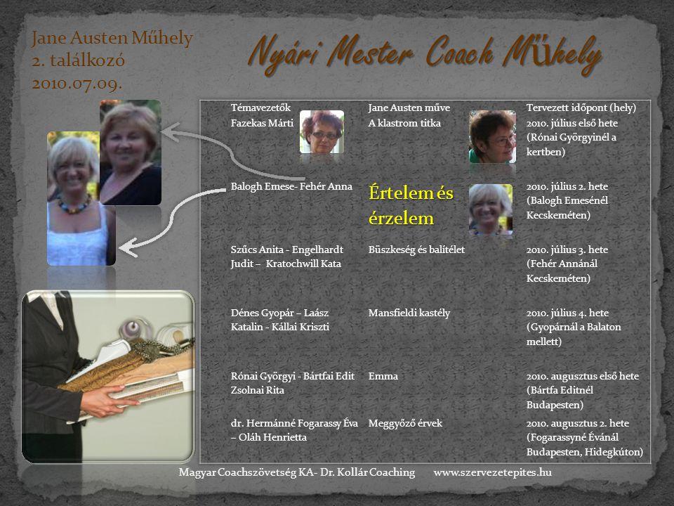 Jane Austen Műhely 2. találkozó 2010.07.09. Nyári Mester Coach M ű hely www.szervezetepites.huMagyar Coachszövetség KA- Dr. Kollár Coaching