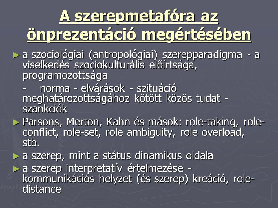 A szerepmetafóra az önprezentáció megértésében ► a szociológiai (antropológiai) szerepparadigma - a viselkedés szociokulturális előírtsága, programozo