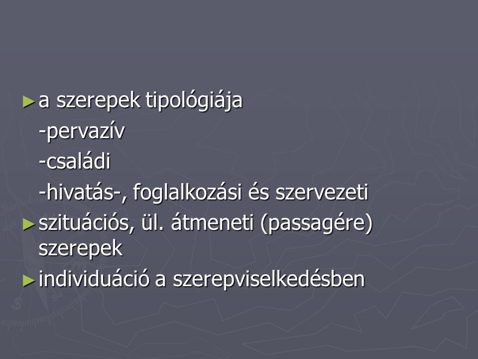 ► a szerepek tipológiája -pervazív-családi -hivatás-, foglalkozási és szervezeti ► szituációs, ül. átmeneti (passagére) szerepek ► individuáció a szer