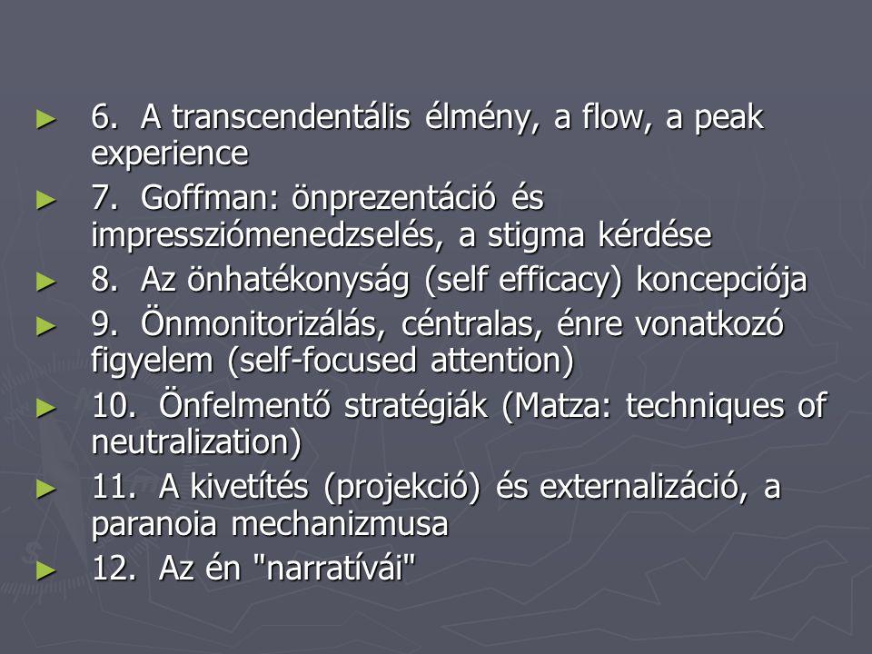 ► 6. A transcendentális élmény, a flow, a peak experience ► 7. Goffman: önprezentáció és impressziómenedzselés, a stigma kérdése ► 8. Az önhatékonyság