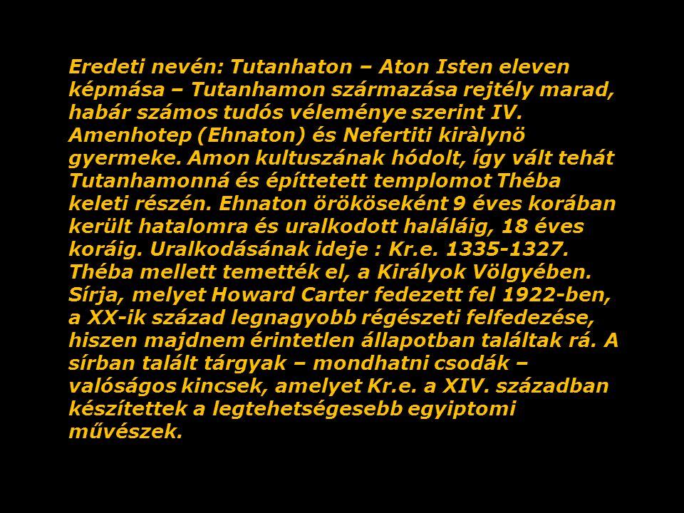 Eredeti nevén: Tutanhaton – Aton Isten eleven képmása – Tutanhamon származása rejtély marad, habár számos tudós véleménye szerint IV.