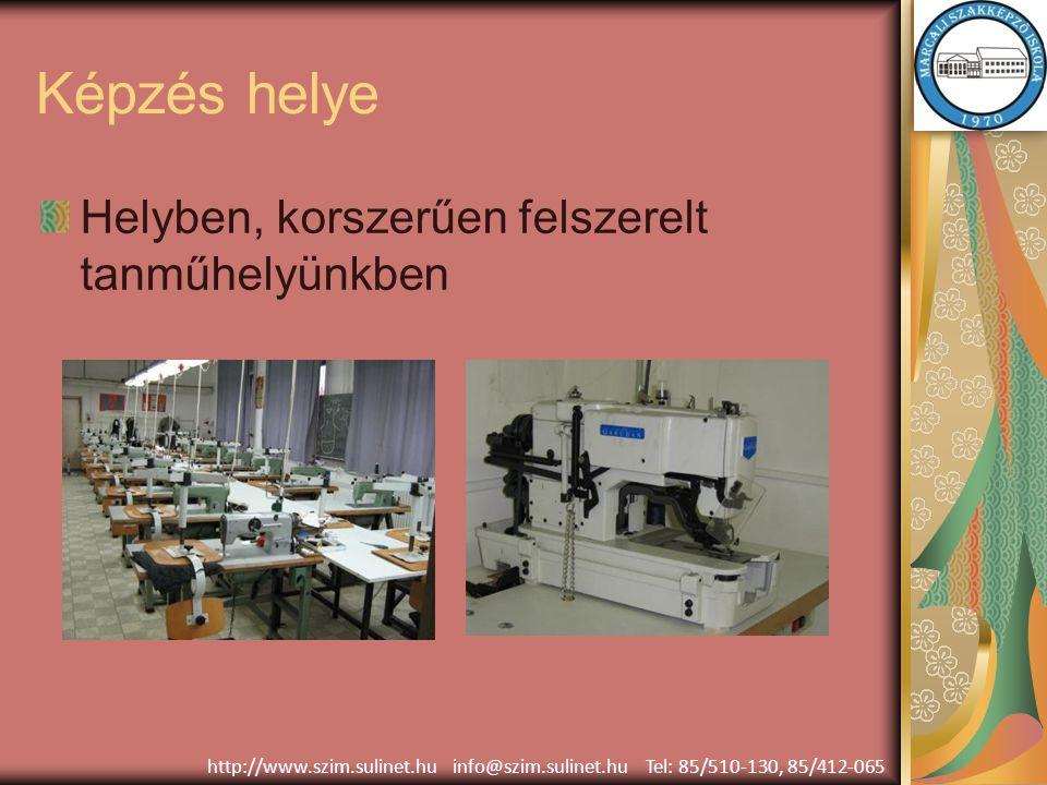Képzés helye Helyben, korszerűen felszerelt tanműhelyünkben http://www.szim.sulinet.hu info@szim.sulinet.hu Tel: 85/510-130, 85/412-065