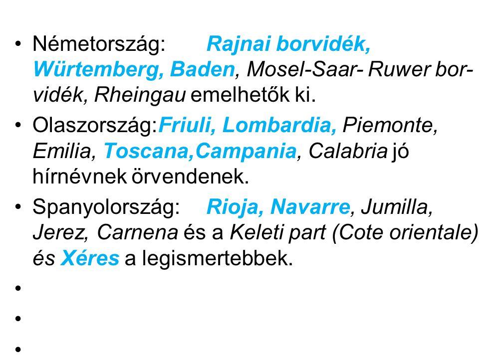 •Németország: Rajnai borvidék, Würtemberg, Baden, Mosel-Saar- Ruwer bor- vidék, Rheingau emelhetők ki. •Olaszország:Friuli, Lombardia, Piemonte, Emili