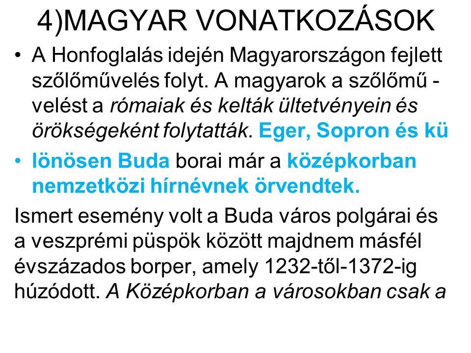 4)MAGYAR VONATKOZÁSOK •A Honfoglalás idején Magyarországon fejlett szőlőművelés folyt. A magyarok a szőlőmű - velést a rómaiak és kelták ültetvényein