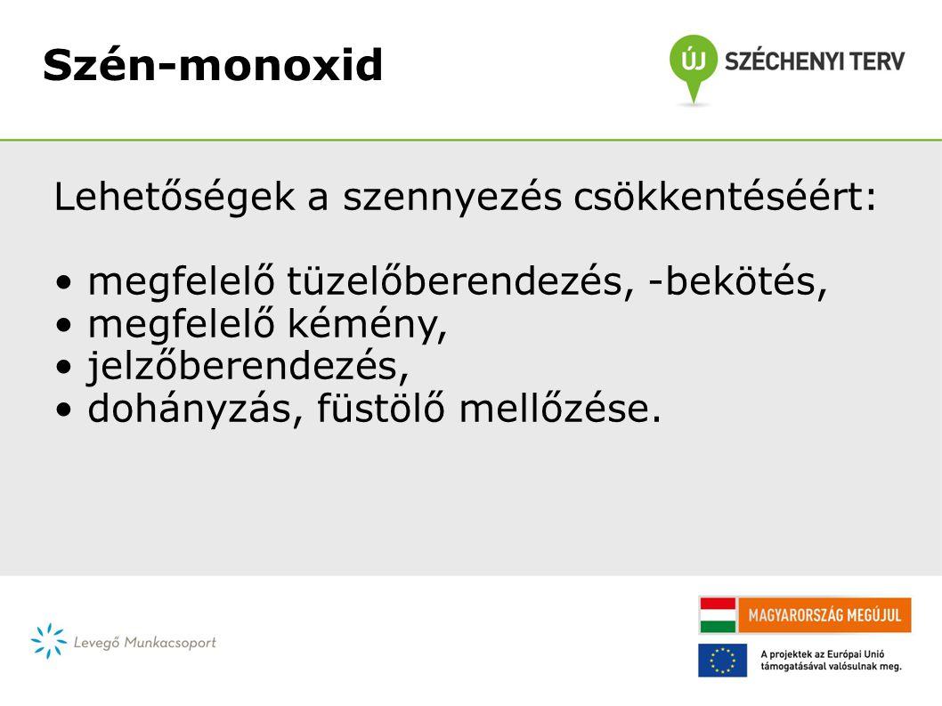Szén-monoxid Lehetőségek a szennyezés csökkentéséért: • megfelelő tüzelőberendezés, -bekötés, • megfelelő kémény, • jelzőberendezés, • dohányzás, füstölő mellőzése.