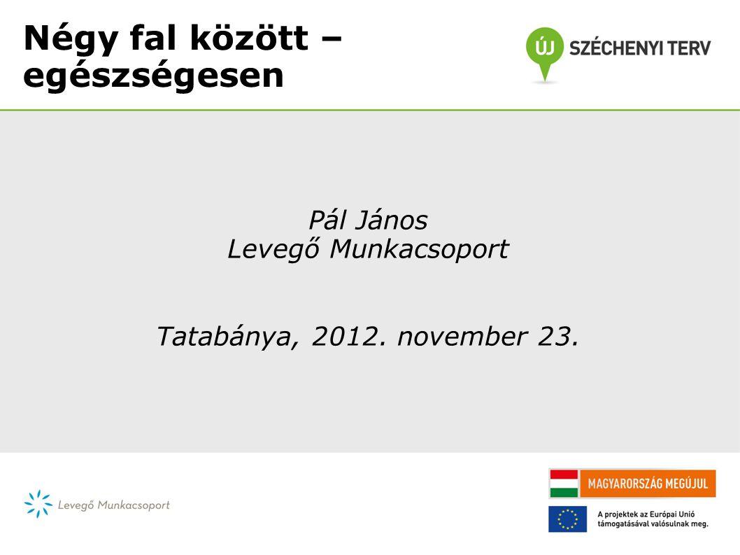 Négy fal között – egészségesen Pál János Levegő Munkacsoport Tatabánya, 2012. november 23.