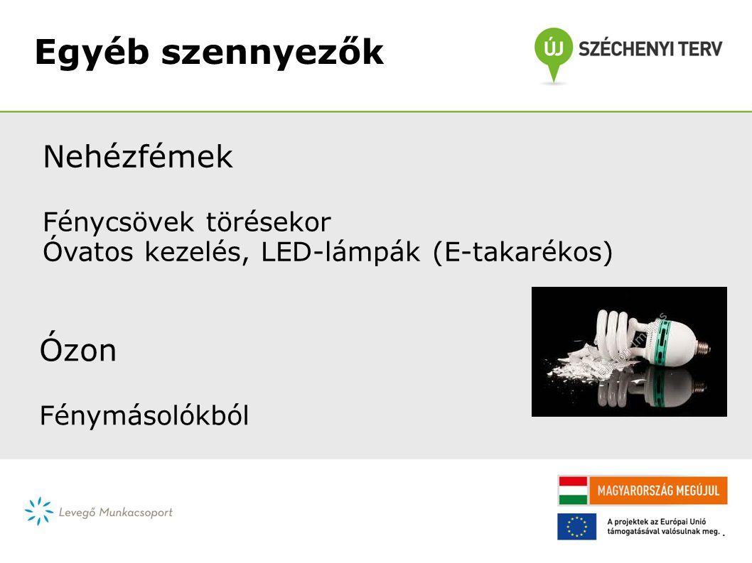 Egyéb szennyezők Nehézfémek Fénycsövek törésekor Óvatos kezelés, LED-lámpák (E-takarékos) Ózon Fénymásolókból.