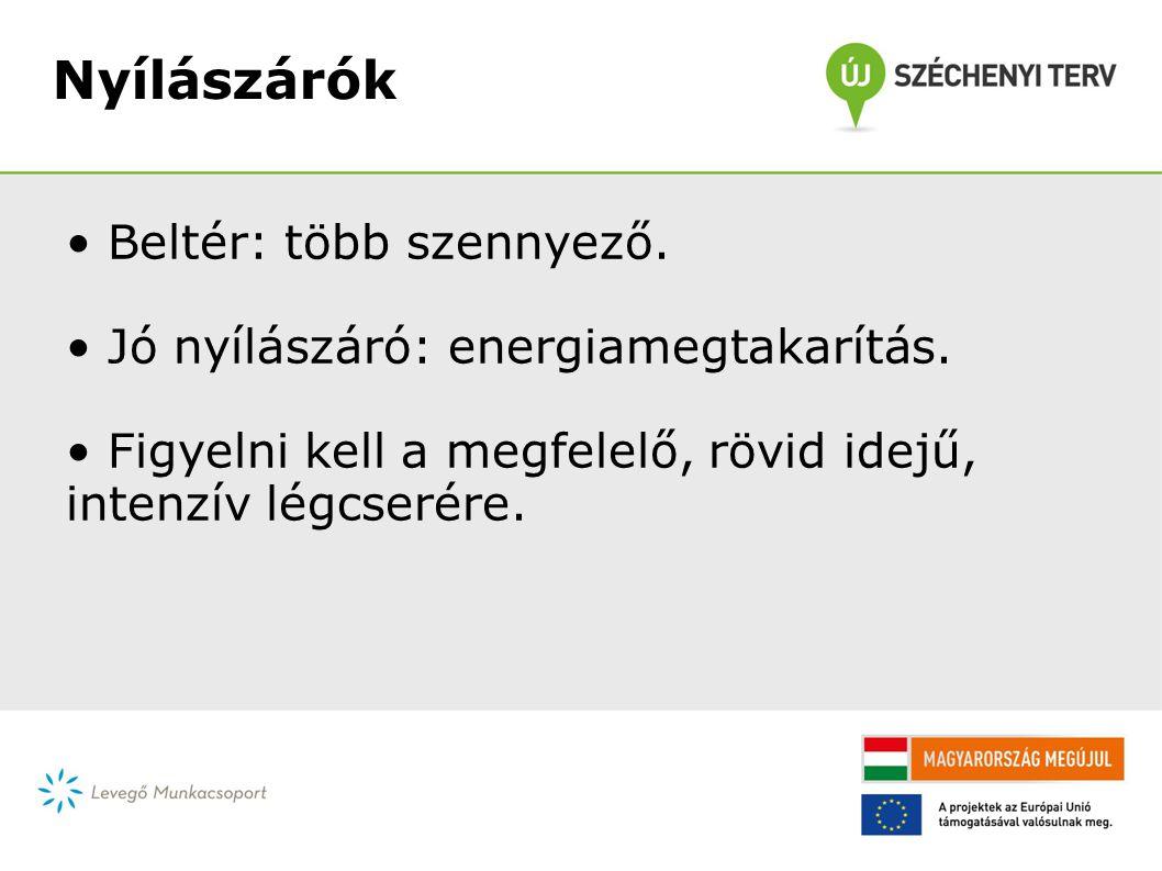 Nyílászárók • Beltér: több szennyező. • Jó nyílászáró: energiamegtakarítás.