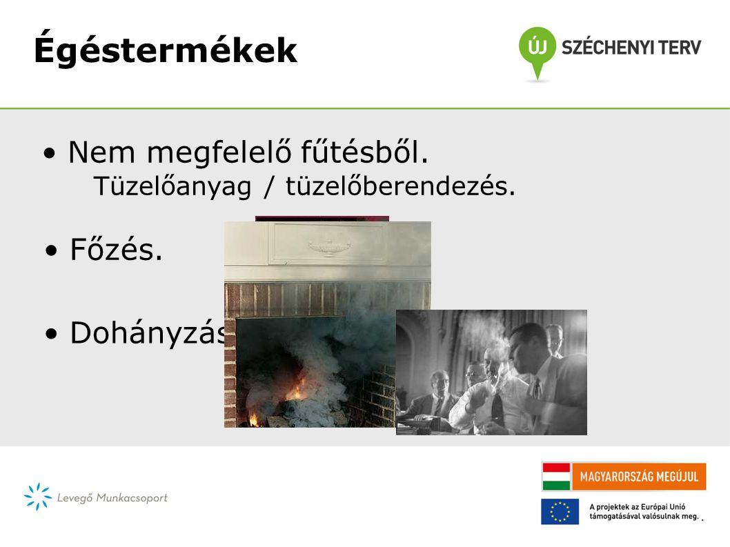 Égéstermékek Hatások: • CO 2 - romló közérzet koncentráció (iskola), • CO mérgező gáz, • füst légzőszervi, ill.