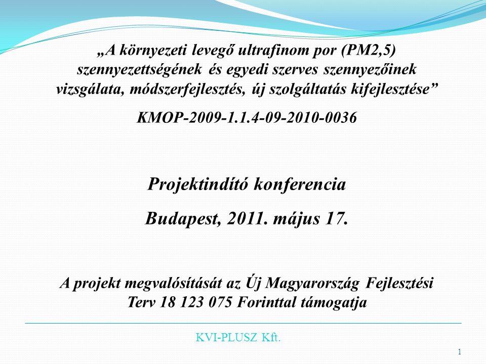 """KVI-PLUSZ Kft. """"A környezeti levegő ultrafinom por (PM2,5) szennyezettségének és egyedi szerves szennyezőinek vizsgálata, módszerfejlesztés, új szolgá"""