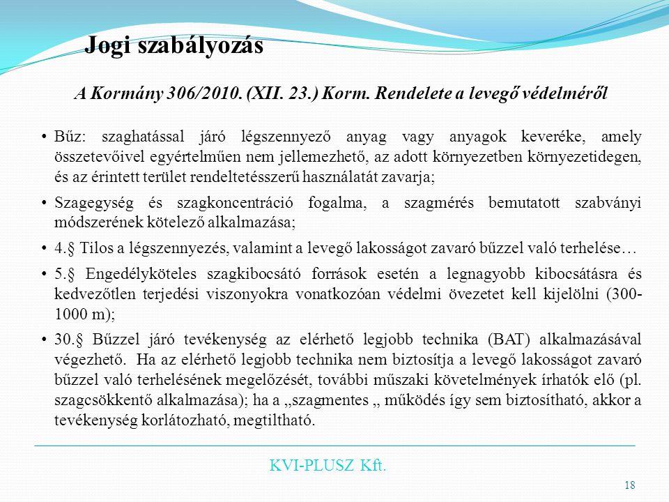 KVI-PLUSZ Kft. 18 Jogi szabályozás A Kormány 306/2010. (XII. 23.) Korm. Rendelete a levegő védelméről • Bűz: szaghatással járó légszennyező anyag vagy