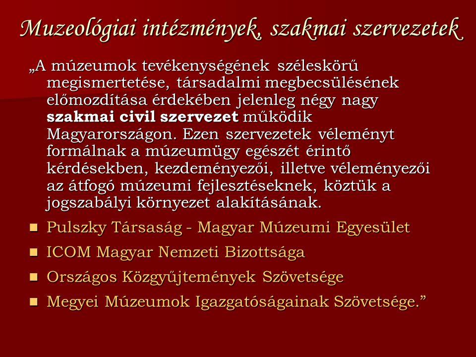 """Muzeológiai intézmények, szakmai szervezetek """"A múzeumok tevékenységének széleskörű megismertetése, társadalmi megbecsülésének előmozdítása érdekében"""