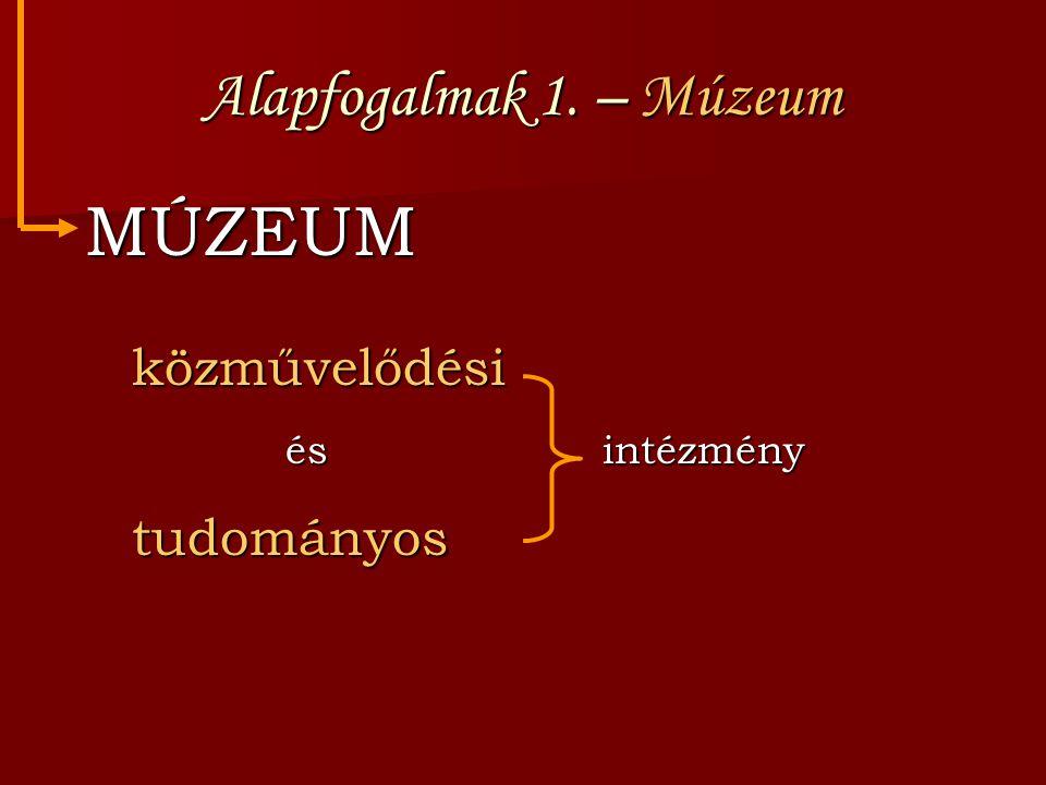 Alapfogalmak 1. – Múzeum MÚZEUM MÚZEUM közművelődési közművelődési és intézmény és intézmény tudományos tudományos