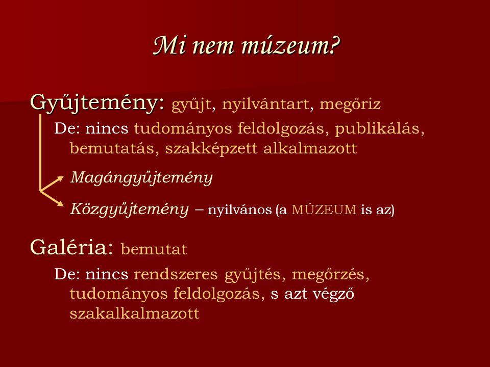 Mi nem múzeum? Gyűjtemény: Gyűjtemény: gyűjt, nyilvántart, megőriz De: nincs tudományos feldolgozás, publikálás, bemutatás, szakképzett alkalmazott Ma
