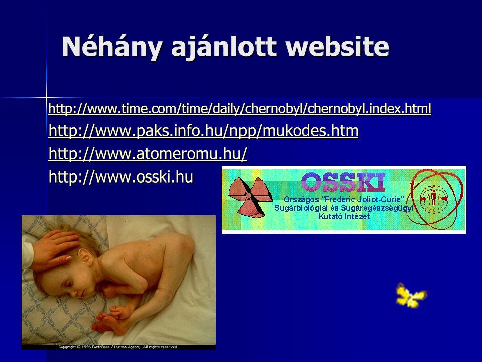 Néhány ajánlott website http://www.time.com/time/daily/chernobyl/chernobyl.index.html http://www.paks.info.hu/npp/mukodes.htm http://www.atomeromu.hu/