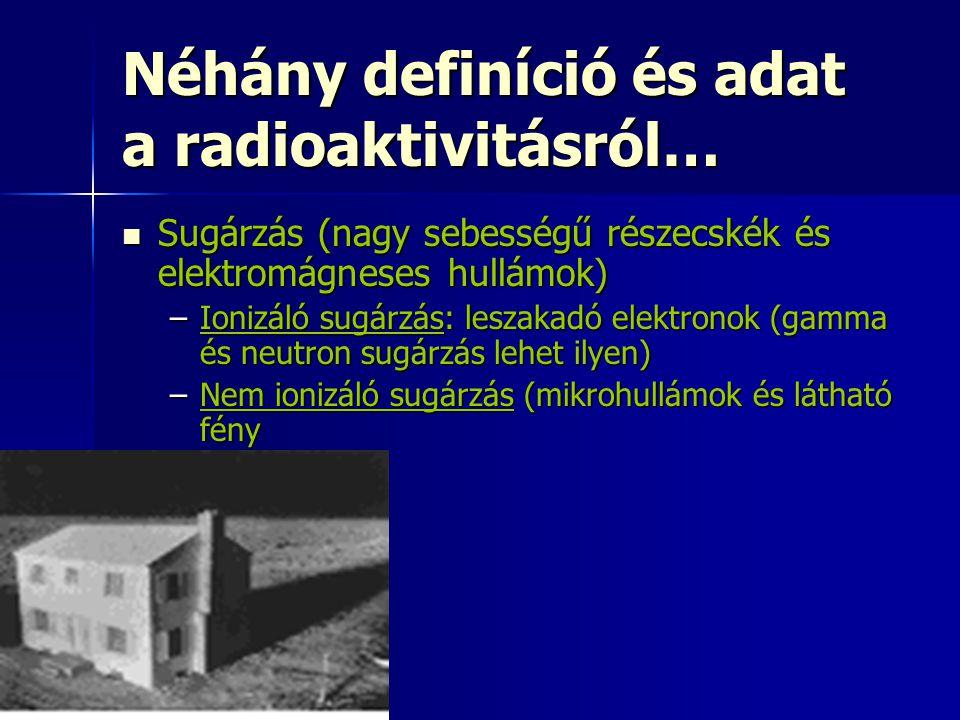 Néhány definíció és adat a radioaktivitásról…  Sugárzás (nagy sebességű részecskék és elektromágneses hullámok) –Ionizáló sugárzás: leszakadó elektronok (gamma és neutron sugárzás lehet ilyen) –Nem ionizáló sugárzás (mikrohullámok és látható fény