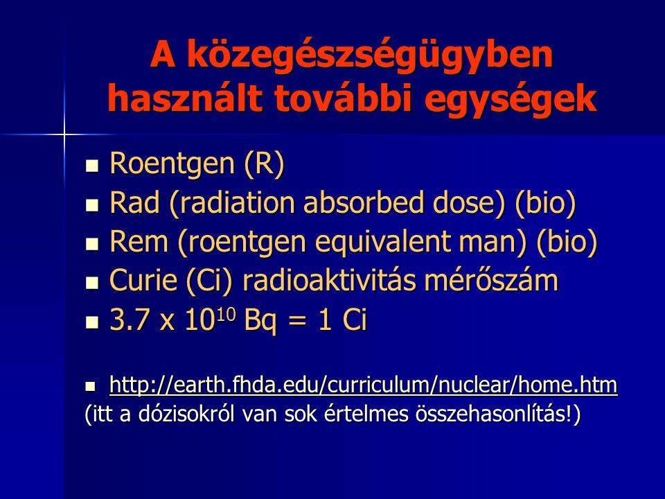A közegészségügyben használt további egységek  Roentgen (R)  Roentgen (R)  Rad (radiation absorbed dose) (bio)  Rem (roentgen equivalent man) (bio)  Curie (Ci) radioaktivitás mérőszám  3.7 x 10 10 Bq = 1 Ci  3.7 x 10 10 Bq = 1 Ci  http://earth.fhda.edu/curriculum/nuclear/home.htm http://earth.fhda.edu/curriculum/nuclear/home.htm (itt a dózisokról van sok értelmes összehasonlítás!)
