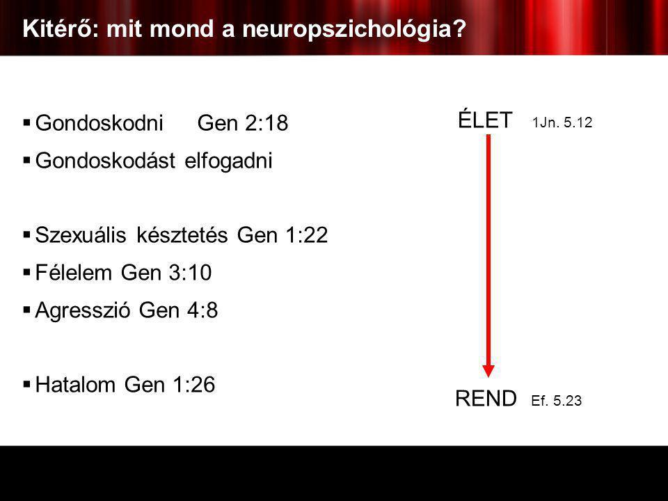 Kitérő: mit mond a neuropszichológia?  Gondoskodni Gen 2:18  Gondoskodást elfogadni  Szexuális késztetés Gen 1:22  Félelem Gen 3:10  Agresszió Ge