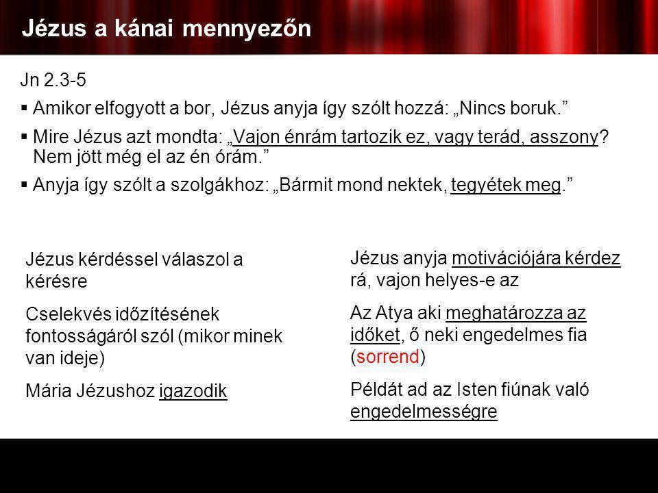 """Jézus a kánai mennyezőn Jn 2.3-5  Amikor elfogyott a bor, Jézus anyja így szólt hozzá: """"Nincs boruk.""""  Mire Jézus azt mondta: """"Vajon énrám tartozik"""