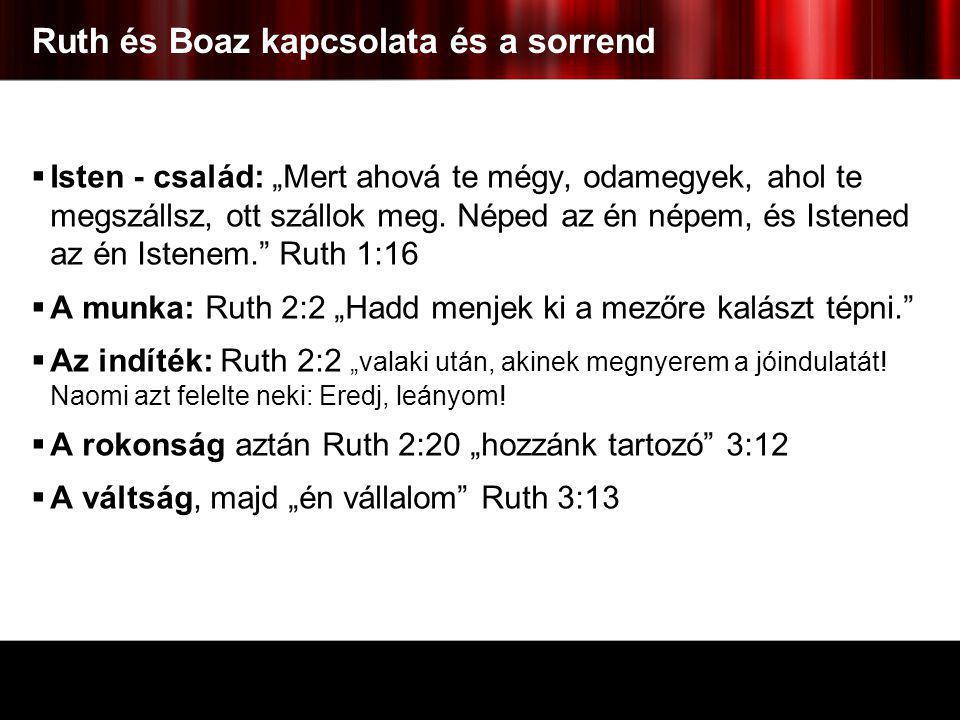 """Ruth és Boaz kapcsolata és a sorrend  Isten - család: """"Mert ahová te mégy, odamegyek, ahol te megszállsz, ott szállok meg. Néped az én népem, és Iste"""
