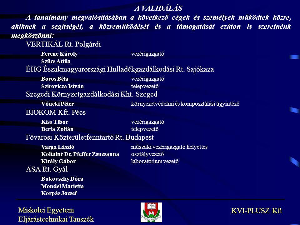 Miskolci Egyetem Eljárástechnikai Tanszék KVI-PLUSZ Kft A VALIDÁLÁS A tanulmány megvalósításában a következő cégek és személyek működtek közre, akikne