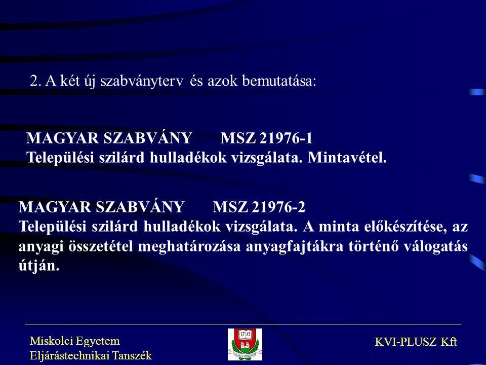 Miskolci Egyetem Eljárástechnikai Tanszék KVI-PLUSZ Kft MAGYAR SZABVÁNYMSZ 21976-1 Települési szilárd hulladékok vizsgálata. Mintavétel. MAGYAR SZABVÁ