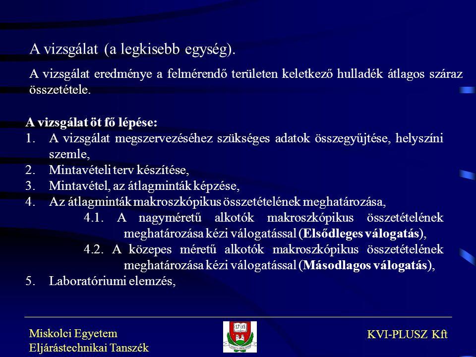 Miskolci Egyetem Eljárástechnikai Tanszék KVI-PLUSZ Kft A vizsgálat (a legkisebb egység). A vizsgálat eredménye a felmérendő területen keletkező hulla