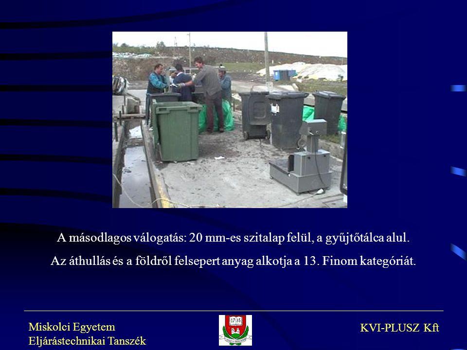 Miskolci Egyetem Eljárástechnikai Tanszék KVI-PLUSZ Kft A másodlagos válogatás: 20 mm-es szitalap felül, a gyűjtőtálca alul. Az áthullás és a földről