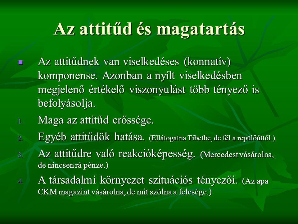 Az attitűd és magatartás  Az attitűdnek van viselkedéses (konnatív) komponense. Azonban a nyílt viselkedésben megjelenő értékelő viszonyulást több té