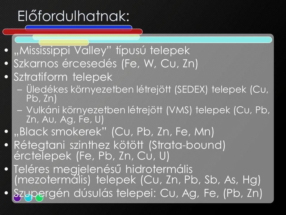 """Előfordulhatnak: •""""Mississippi Valley"""" típusú telepek •Szkarnos ércesedés (Fe, W, Cu, Zn) •Sztratiform telepek –Üledékes környezetben létrejött (SEDEX"""