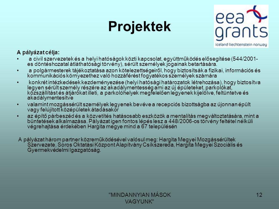MINDANNYIAN MÁSOK VAGYUNK 12 Projektek A pályázat célja: • a civil szervezetek és a helyi hatóságok közti kapcsolat, együttműködés elősegítése (544/2001- es döntéshozatal átláthatósági törvény), sérült személyek jogainak betartására.